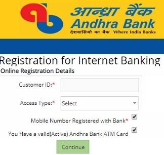 andhra bank online registration for internet banking