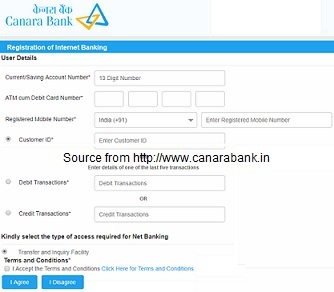 Canara Bank Netbanking Online Registration for New Users