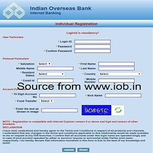 iob net banking registration form