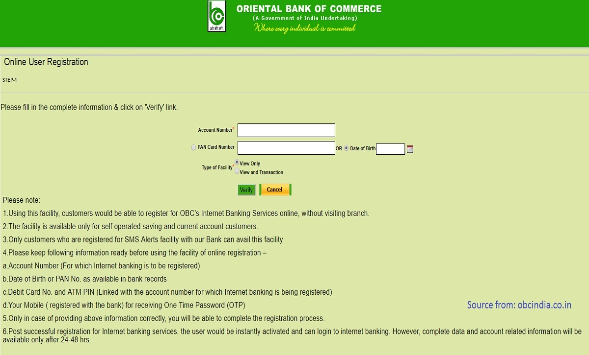 OBC Bank Internet Banking Sevices