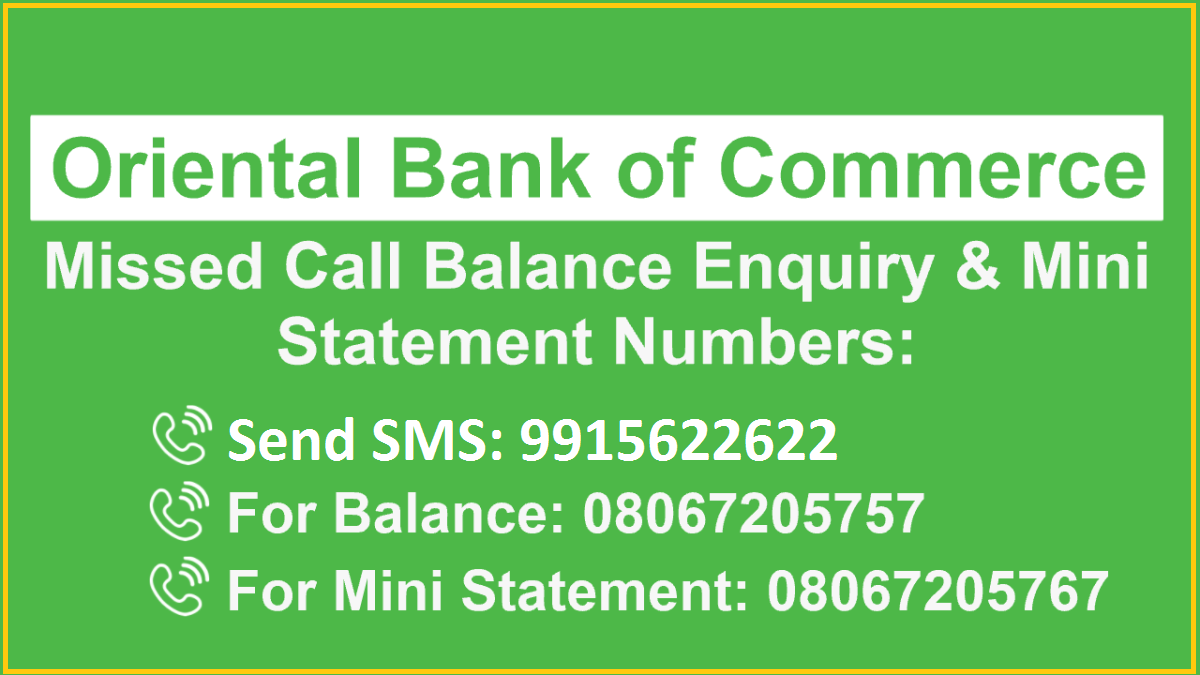 OBC Bank Mini Statement through Missed Call
