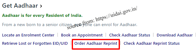 Aadhaar Card Download Re-print